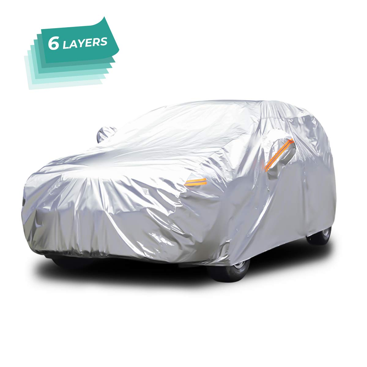 Audew All Weather Car Cover 6 Layer Breathable UV Protection Waterproof Dustproof Universal Fit Full Car Covers for SUV, Jeep XL(190' ' -201' ' )