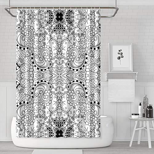 Mehndi Art Design Round Pattern Black Shower Curtain Colorful Bathroom Decor for Bathroom,Printing Bath Curtains