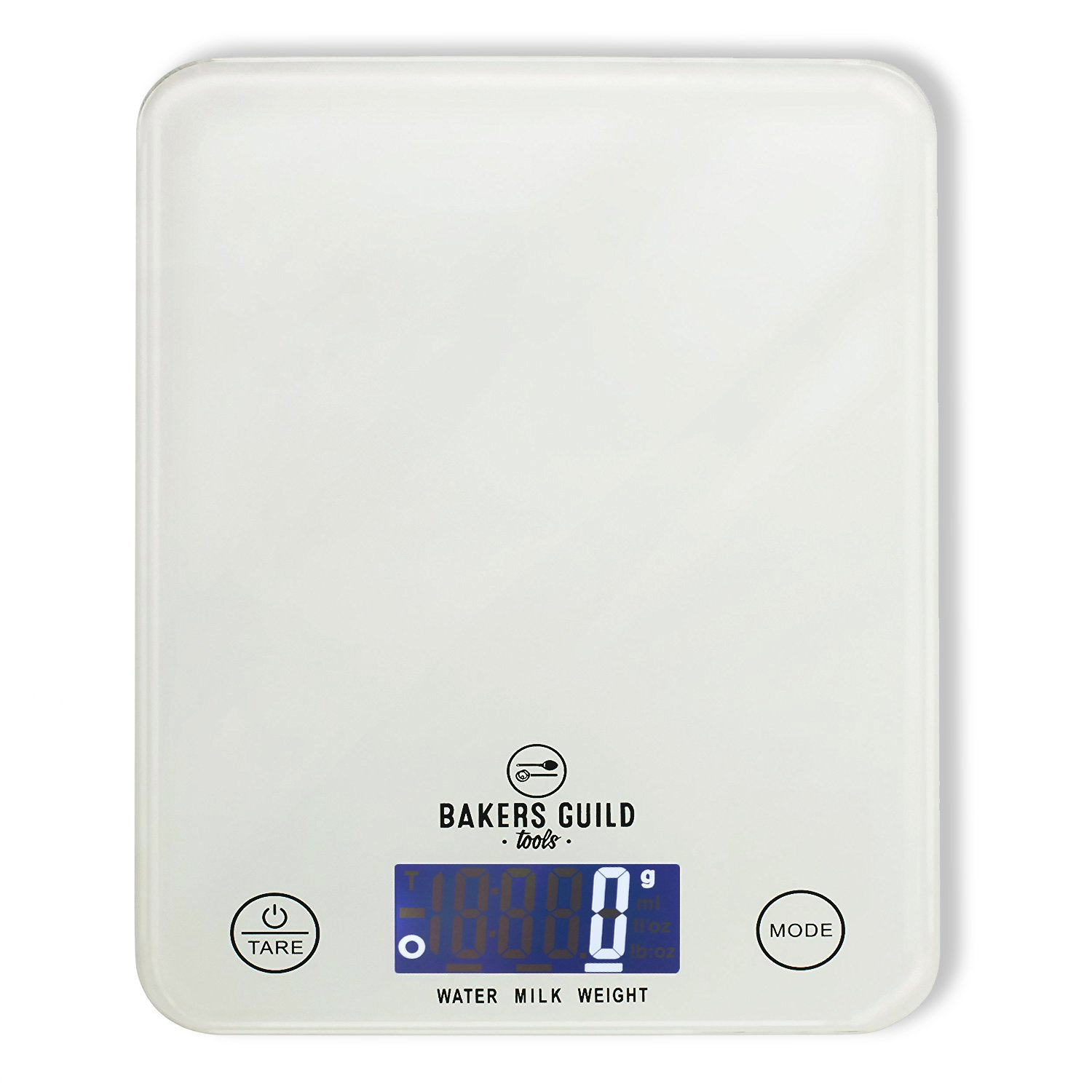Digital Kitchen Food Scale (White), Fluid Ounces for Milk and Water, Weight in Grams, Ounces and Pounds (Batteries Included) – By Bakers Guild Tools