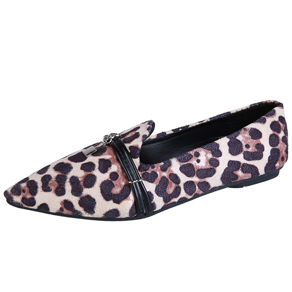 Women's Pointed Flat Shoes, Belt Buckle Suede Leopard Shallow Mouth Single Shoes By NEEKEY