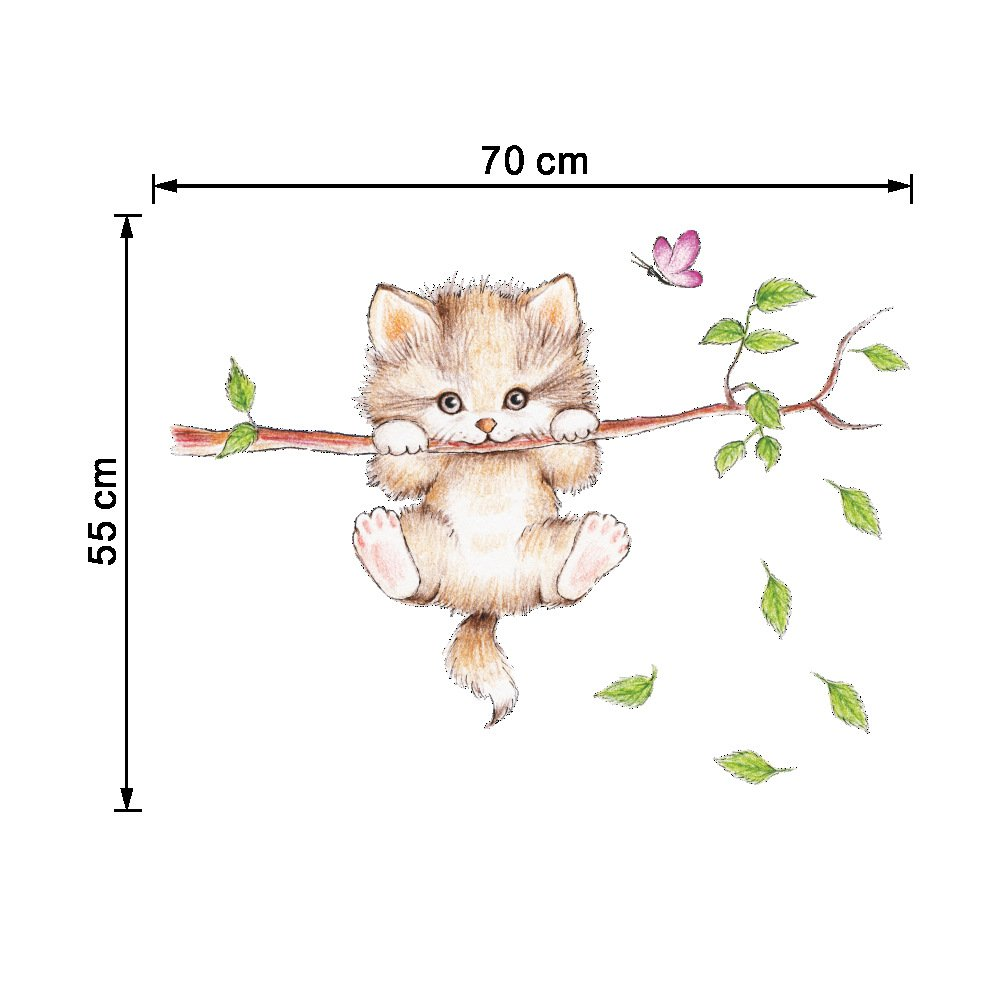 Amaonm Cartoon Cute Cat On The Tree Branches Wall Decals Removable Kitty Wall Stickers Decor Girls Bedroom Decal Kids Nursery Sticker Bathroom Wall Art Decoration Kitty Decals Cats Wall Sticker ZY278