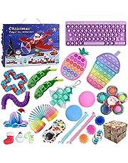 QASIMOF Adventskalender 2021 jul, barn, choklad, fidget leksak paket, fidgetset 24 st hängande prydnader, adventskalender för barn, vuxna
