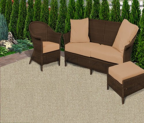 Custom Cut-To-Fit outdoor Balcony/Patio Rugs (6 available colors) (4' x 10', Weathered Teak) (Weathered Teak Finish)