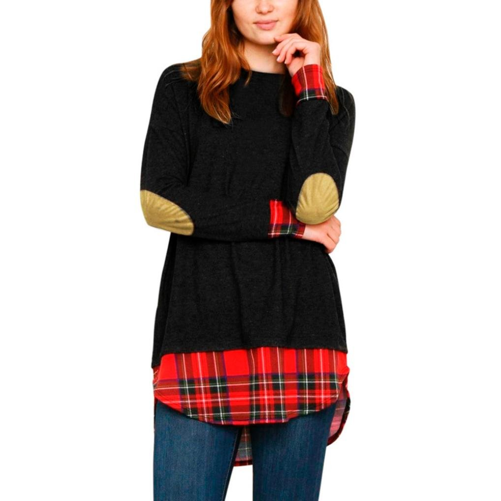 Lightning Deals O-neck Blouse,ZYooh Fashion Women Plaid Patchwork Long Sleeve Blouse Pullover Tops (black, XL)