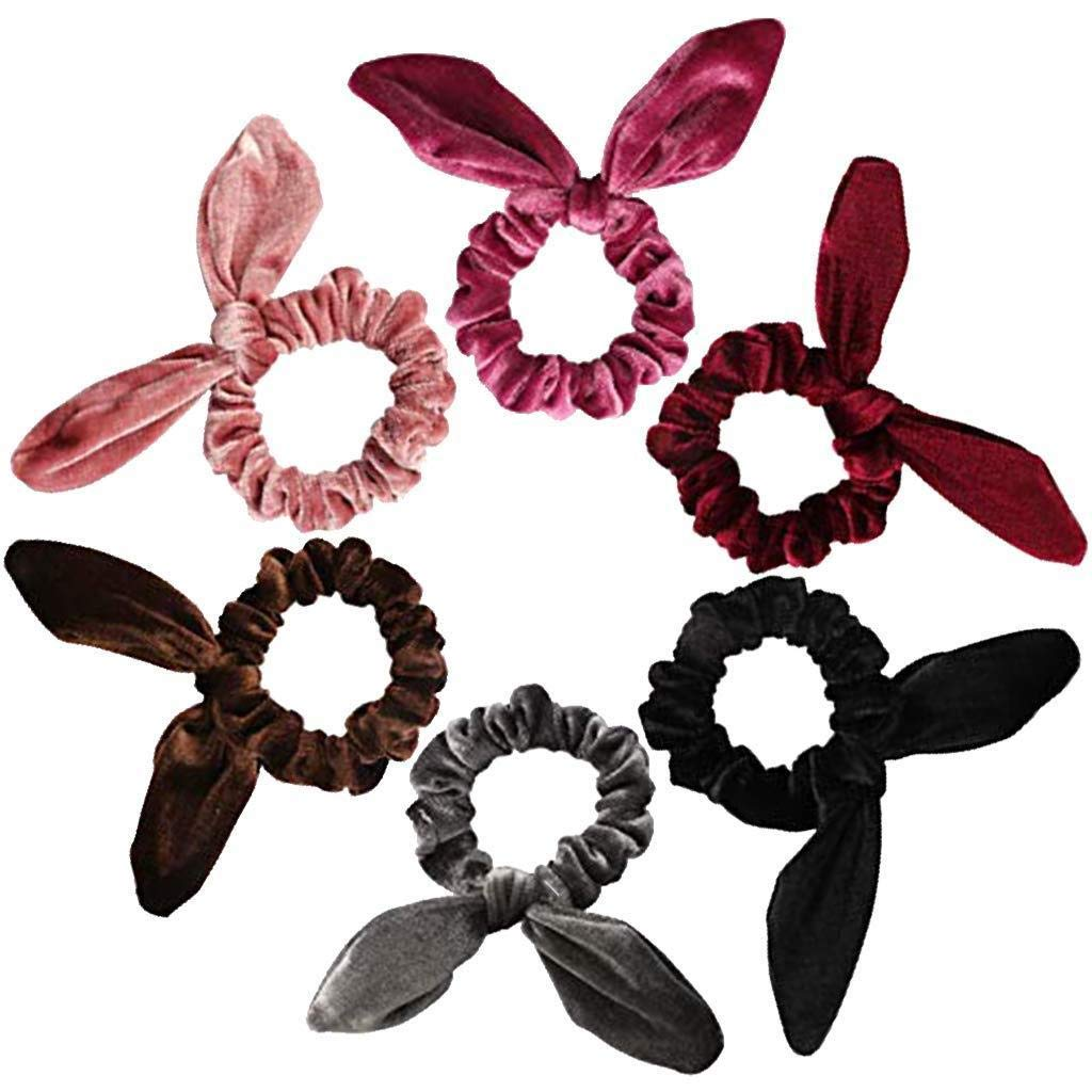 Oldlila 6 Pack Hair Scrunchies Rabbit Ear Scrunchie Velvet Elastic Hair Bands Scrunchy Hair Ties Ropes Scrunchies for Women or Girls Hair Accessories
