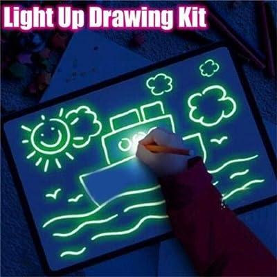 Duk3ichton Tablero De Dibujo Toy Draw with Light Fun Intermitente Magic Painting Tablero De Dibujo Juguete Educativo para Niños 4 #: Juguetes y juegos