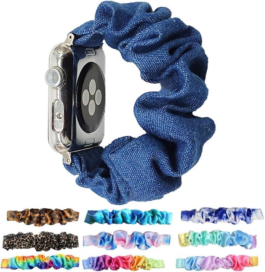 Scrunchie Elastic Watchband for Apple Watch Band Series 6 5 4 3,Tomcrazy Watch Band for iwatch 38mm 40mm 42mm 44mm Strap Bracelet (Jean Blue, 38mm/40mm)