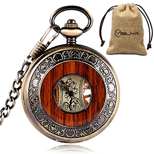 Vintage Bronze Wooden Mechanical Pocket Watch Roman Numerals Creative Carving Flower Dial Luxury Pendant