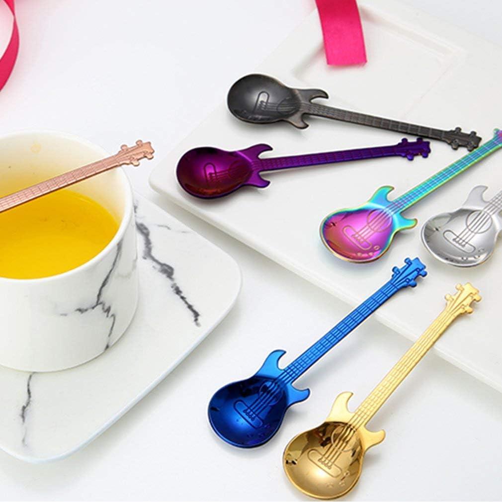 Guitar Coffee Spoon Set Stainless Steel Dessert Ice Cream Spoon Tea Spoon Rose Gold