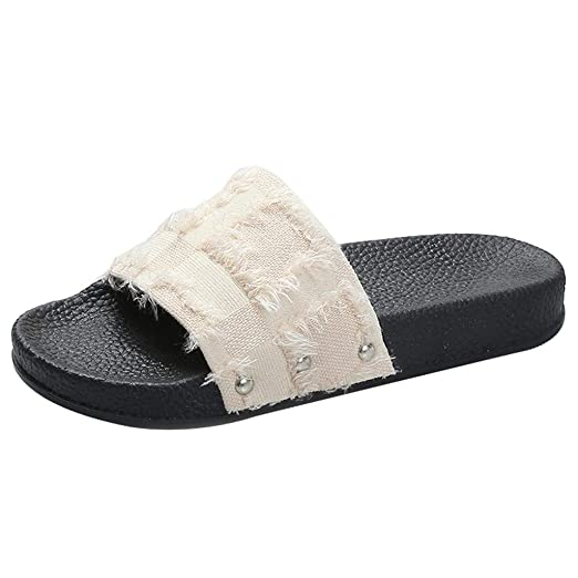 b637dde56 Amazon.com: Dasuy Womens Slide Espadrilles Sandals Flats Flip Flops Women  Memory Foam Cozy House Slippers Indoor Outdoor Slip on Shoes: Clothing