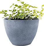 "Flower Pot Large 14.2"" Garden Planters Outdoor Indoor, Unbreakable Resin Plant Containers with Drain Hole, Grey"