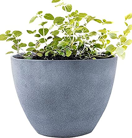 230 & Flower Pot Large 14.2 Inch Garden Planters Outdoor Indoor Resin Plant Containers with Drain Hole Grey