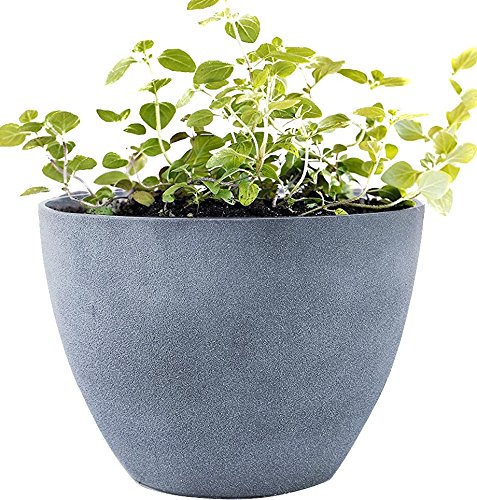 Flower Pot Large 14.2 Inch Garden Planters Outdoor Indoor, Unbreakable Resin Plant Containers with Drain Hole, Grey
