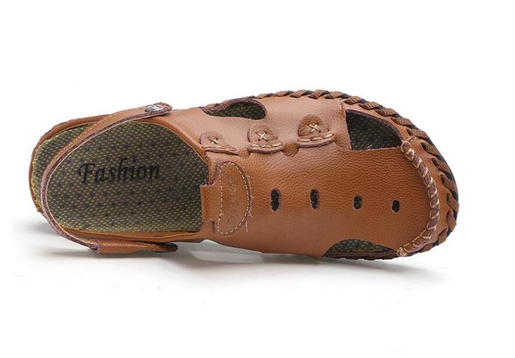 Männer Sandalen Schuhe Aus Echtem Leder Sandalen Männer Strand Sommer Geschlossene Zehe Pull auf Slipper Atmungsaktive Slides Rutschfeste Größe 38 Bis 43 yellow bb3520