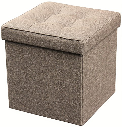 Zulera Storage Ottoman Cube Foot Rest Stool Seat Foldable with Square Padded Seat (LIGHT BROWN)