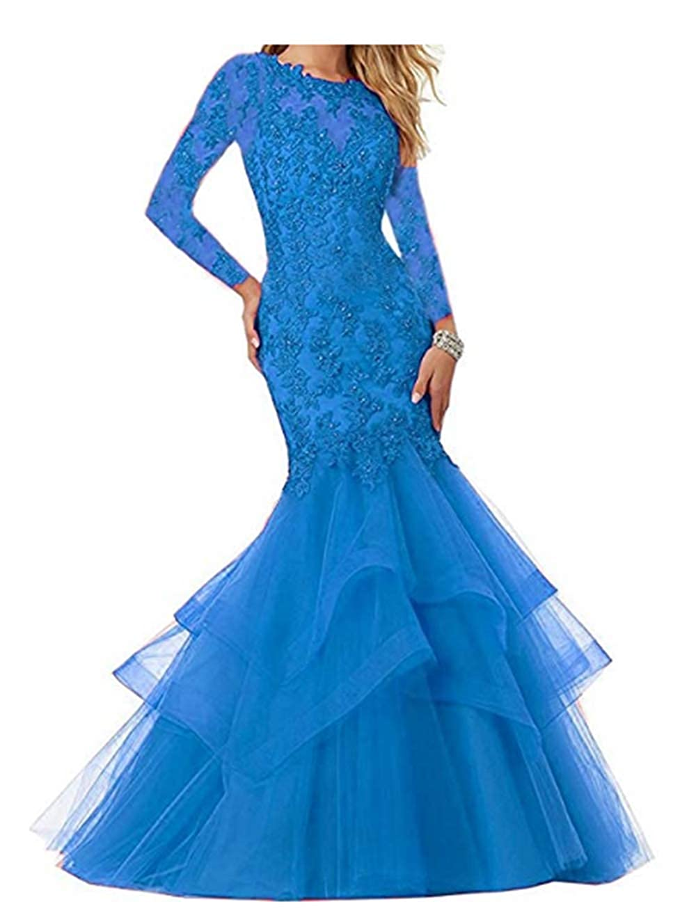 bluee FWVR Women's Mermaid Appliques Prom Dresses Long Sleeves Evening Wedding Party Gowns
