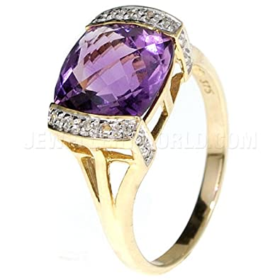 Pink Amethyst & Diamond 9ct Gold Cushion Bar Ring H2l9P