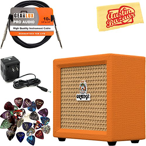 Orange Amplification Crush Mini Guitar Combo Amplifier Bundle with Power Supply, Instrument Cable, Pick Sampler, and Austin Bazaar Polishing Cloth ()