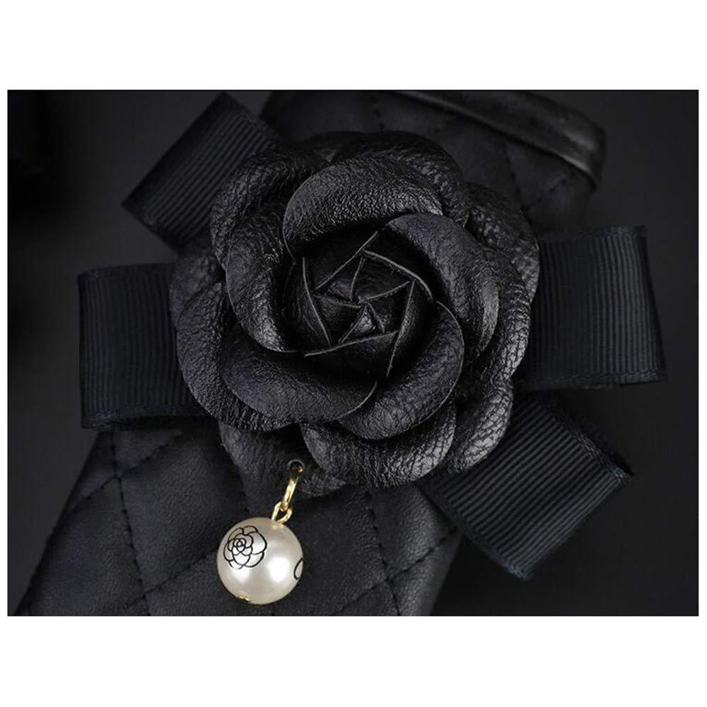 Siyibb Leather Car Handbrake Cover with Cute Pearl Camellia Flower Decor Black