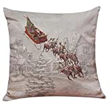 Aiweasi Santa Claus Reindeer Cotton Pillowcase