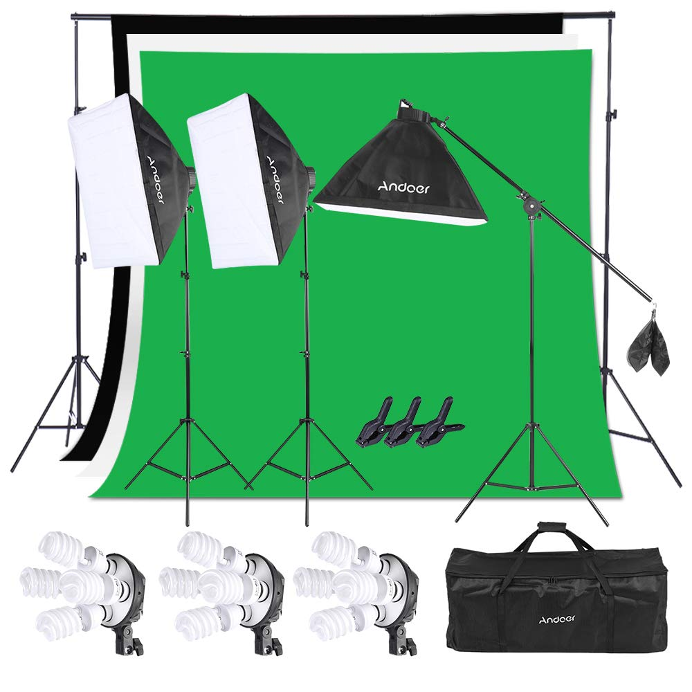 Andoer 6.6ft x 10ft Background Support System and Photography Stuido Lighting Kit, Including 3pcs Backdrops(White/Black/Green) Screen with 3pcs 20x28 Inch Softbox for Video, Portrait, Product Shoot by Andoer
