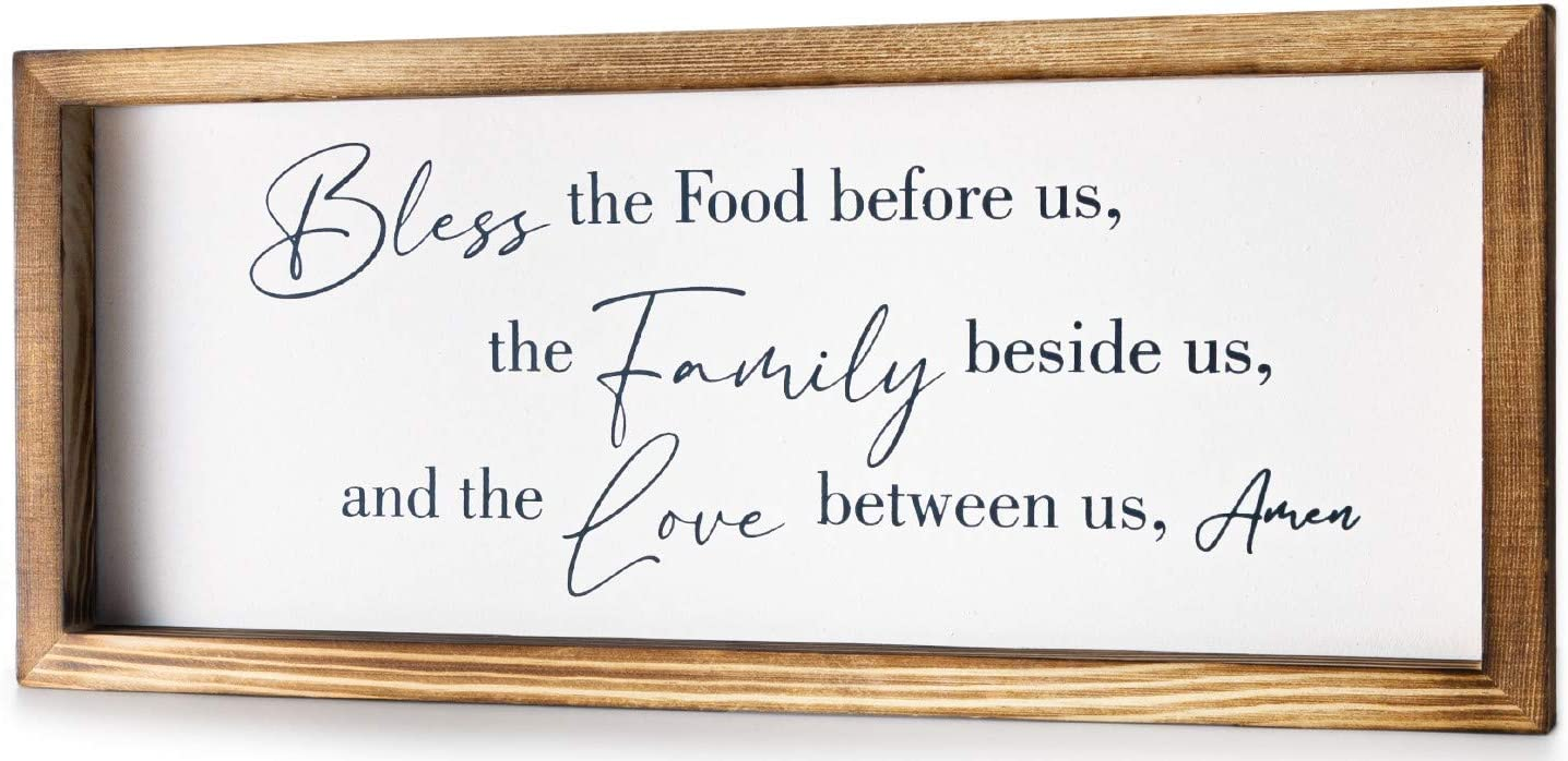 Christian Wall Art – Bless The Food Before us Wooden Wall Decoration Inspirational Bible Verses Wall Decor Wooden Plaque Handmade Rustic Hanging Wall Sign for Home Décor Wall Office Bedroom