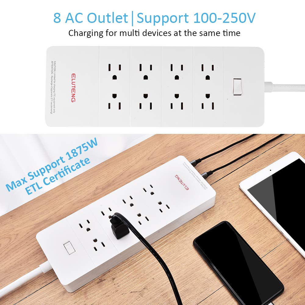 ELUTENG 8-Outlet Power Strip with 5-USB Smart Surge Protector AC 1875W 15A 100V - 240V and 5V 2.4A USB Quick Charging Flat Plug Charging Station with Heavy Duty Extension Long Cord 5ft