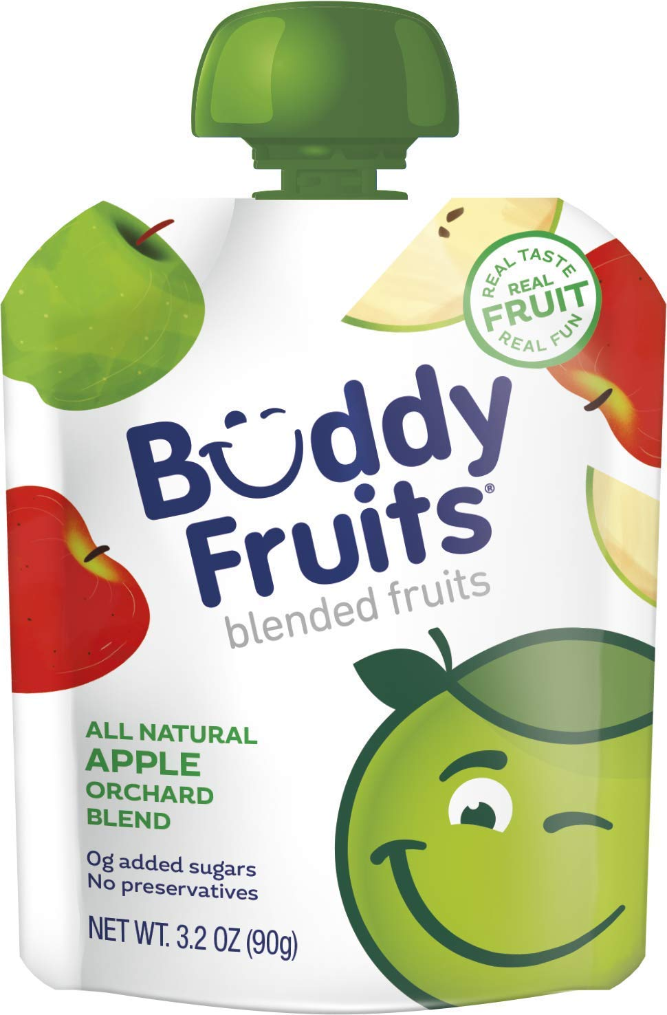 Buddy Fruits Pure Blended Fruit To Go Apple Orchard Blend Applesauce   100% Real Fruit   No Sugar, Non GMO, Vegan, Gluten Free, No Preservatives, BPA Free , Certified Kosher   3.2oz Pouch 18 Pack