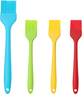INFINI Pastry Brush Silicone Basting Brush Spread Oil Butter Sauce Marinades for BBQ Grill Baking Kitchen Cooking, Baste Pastries Cakes Meat Sausages Desserts, Food Grade, Dishwasher Safe 4Pack