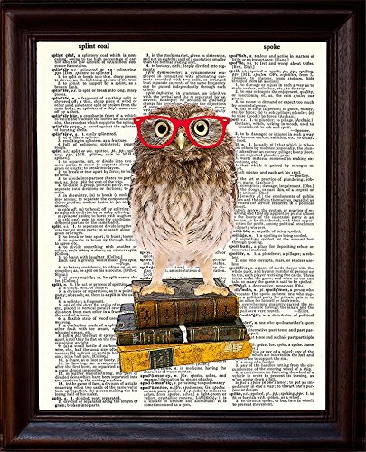 """Dictionary Art Print - Owl Smarty Pants Nerdy Young Owl with Red Glasses Illustration - Printed on Recycled Vintage Dictionary Paper - 8.5""""x11"""" - Mixed Media Poster on Vintage Dictionary Page"""