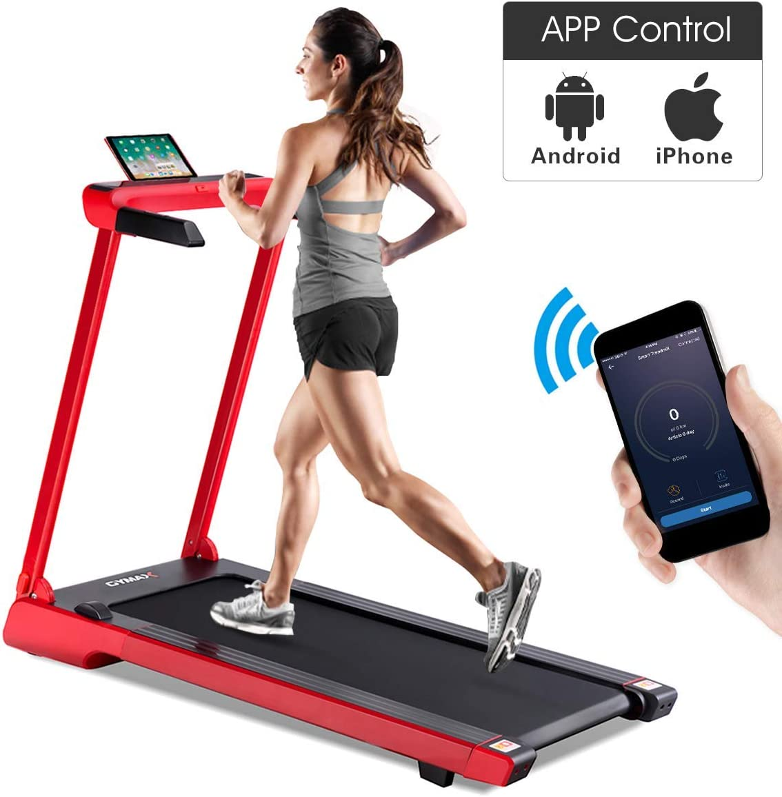 Goplus 2.25 HP Folding Electric Treadmill Free-Installation with Sports App and LED Display