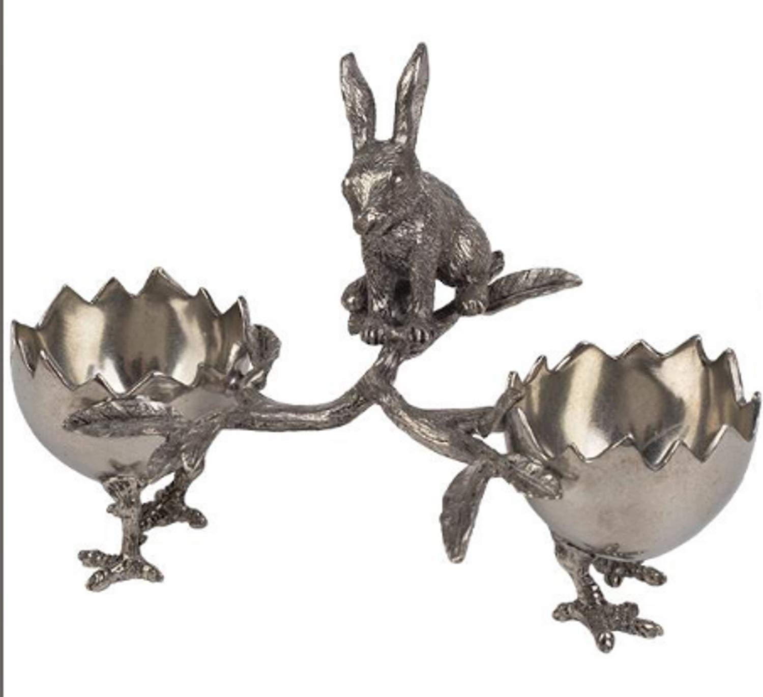 Victorian Trading Co Handmade Pewter Curious Rabbit With Egglet Bowls Egg Cups