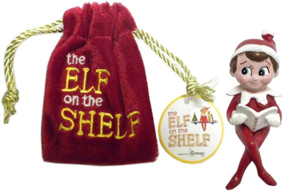 The Elf on The Shelf In a Velvet Bag - Decorative Mini Figurine - Christmas Tradition -- New Story Book Face Figurine