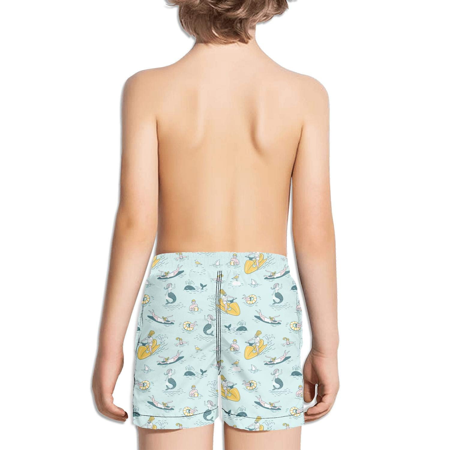 Boys Kids Surfing Hawaii Beach Waves surfboard2 Quick Dry Beach Swim Trunk Fully Lined Swimsuit Beach Shorts with Drawstring