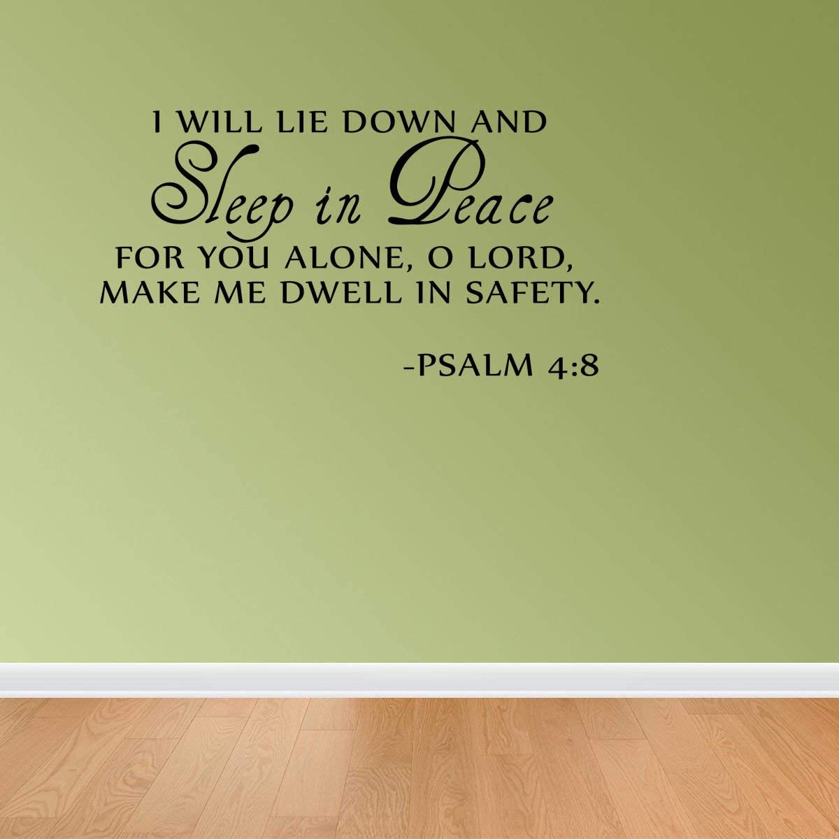 Sleep in Peace Psalm 4:8 Bible Verse Lettering Wall Decal Decor Quote Inspire