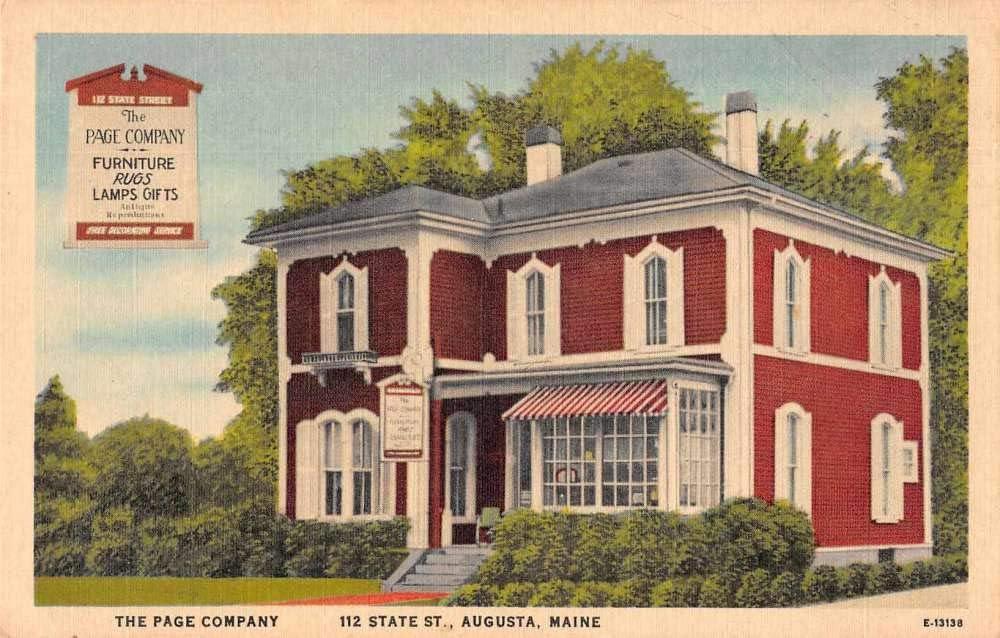 Augusta Maine Page Co Furniture Vintage Postcard AA8115