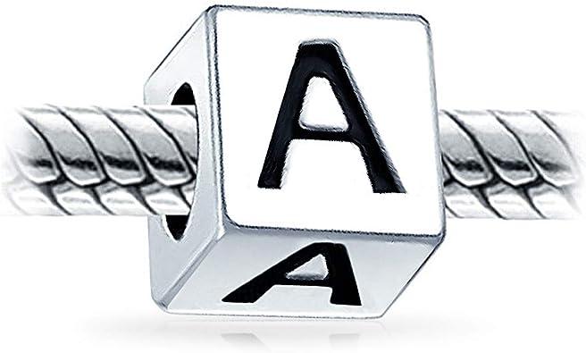Alphabet Lettre K Bloc Charme Initial Charms Et Perles Pour Femme En Argent 925 Bracelet Europ/éen