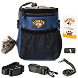 Dog Treat Training Pouch with Large Space for Carrying Kibbles, Toys & Accessories - Waste Bags Dispenser - 3 Ways to Wear - Easy to Clean, Includes Dog Training Clicker, Poop Bag & eBook (Navy Blue)