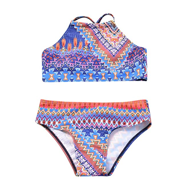 1f2a980a67dbd Amazon.com  Winsummer Swimsuits for Girls Women Bathing Suit Family Matching  Boho Print Swimsuits Mom and Daughter Swimwear Bikini  Clothing