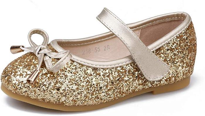 PANDANINJIA Toddler//Little Kid Girls Megan Dress Ballet Flats Shoes Bow Flower Girl Flat Mary Jane