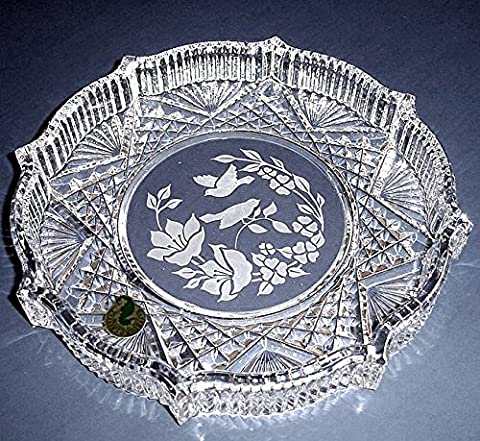 Waterford Crystal Round Tray Etched Floral/Bird Motif Made in Ireland New - Floral Etched Crystal