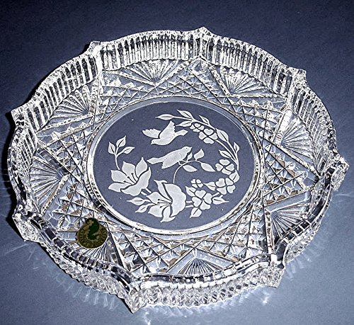 Waterford Crystal Round Tray Etched Floral/Bird Motif Mad...