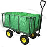 DJM Heavy Duty Metal Garden Wheelbarrow Garden Cart Barrow Trolley Wheels