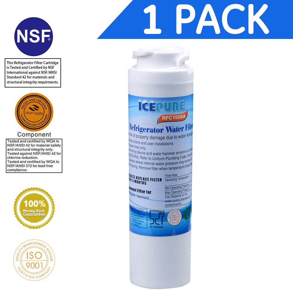 Icepure RWF1500A Compatible with GE MSWF,MSWF3PK, MSWFDS, PC46783, PS1559689, WR02X12345, WR02X12801 ,Refrigerator water filter ,1PACK