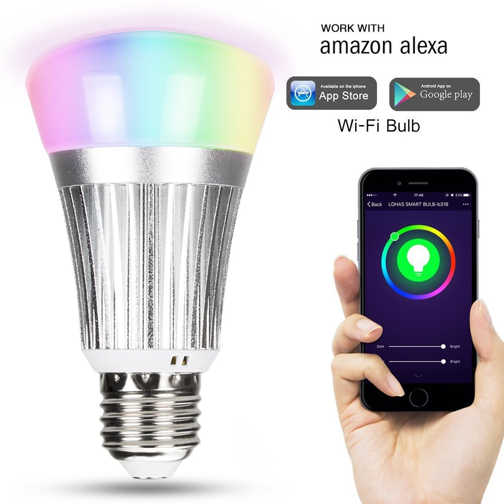 XBK Light Bulbs, Smart Wi-Fi LED Light Bulb,Multicolor Dimmable 60W Equivalent(7W) RGB LED Bulb,Compatible with Amazon Alexa,Google Assistant
