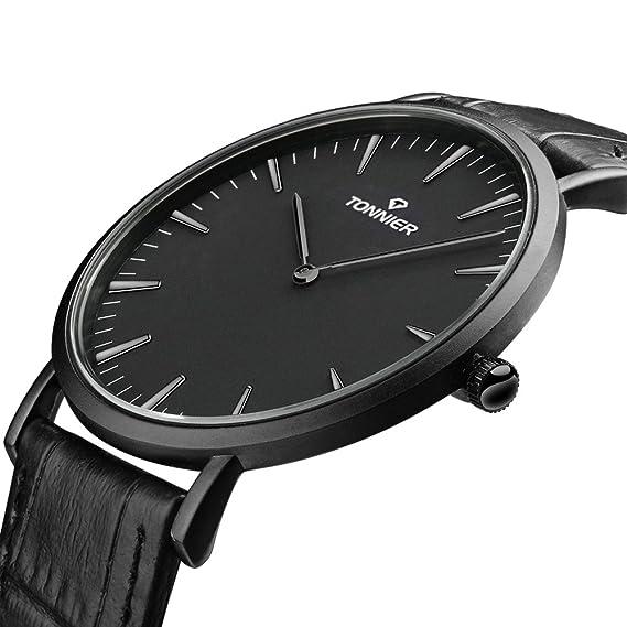 Tonnier - Reloj de cuarzo en acero inoxidable con diseño estilizado para caballero, esfera negra: Tonnier: Amazon.es: Relojes