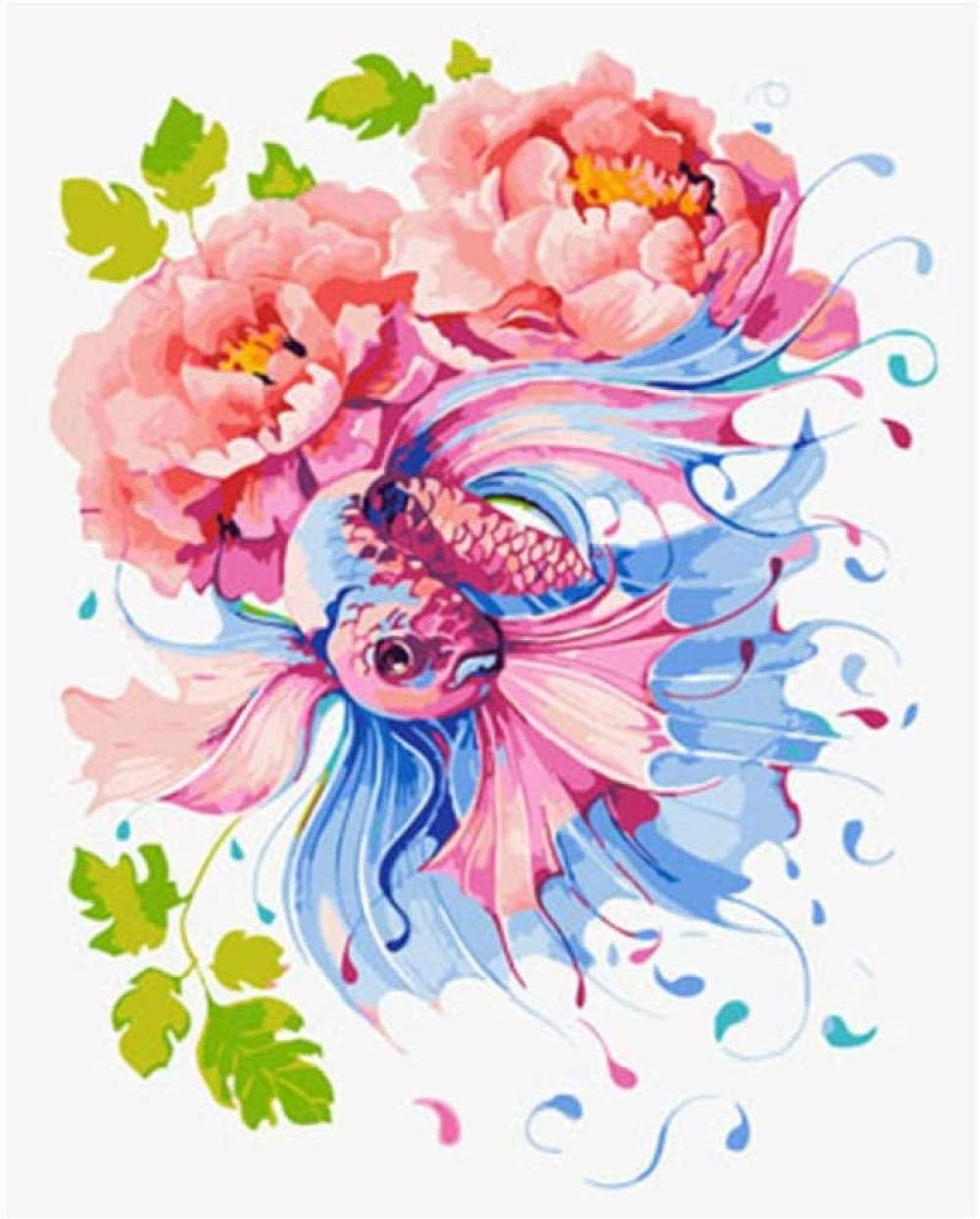 DIY Pintura al óleo Cuadro de flores abstractas Digital Diy Pintura Diy Pintura al óleo Lienzo Arte de la pared Sin marco 40X50Cm Pintura al óleo por número kit