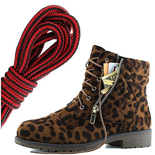 Dailyshoes Kvinna Militär Snörning Spänne Bekämpa Stövlar Fotled Hög Exklusiv Kreditkort Ficka, Svart Röd Vild Leopard