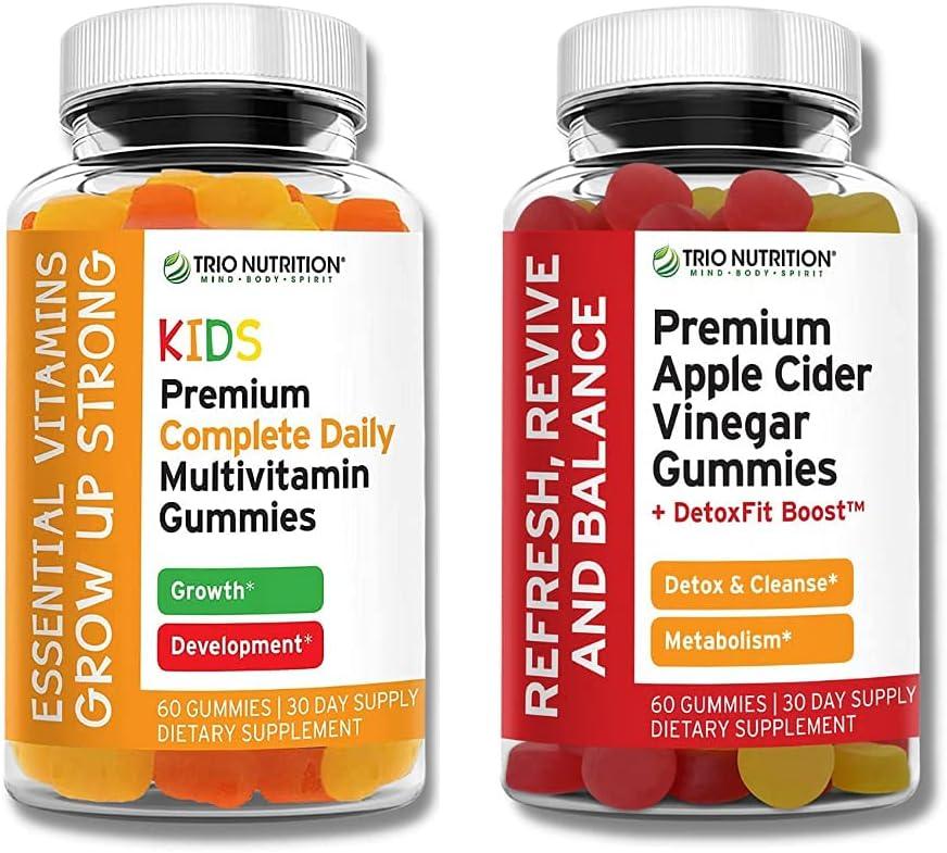 Trio Nutrition Premium Kids Multivitamin Gummies with Vitamin C & Zinc & Apple Cider Vinegar Gummies | Immune & Energy Support | Appetite Suppressant for Weight Loss ACV Gummies with DetoxFit Boost