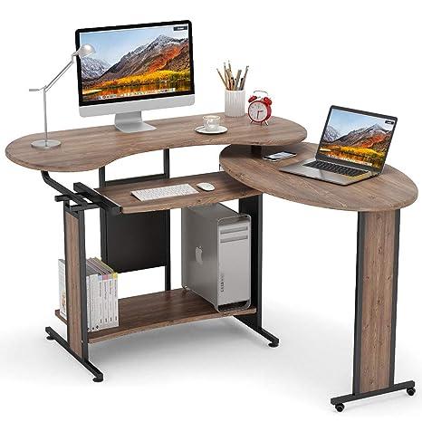 online store b47b6 c7de0 L-Shaped Computer Desk, LITTLE TREE Rotating Corner Desk & Modern Office  Study Workstation, for Home Office or Living Room (Pine finsih)